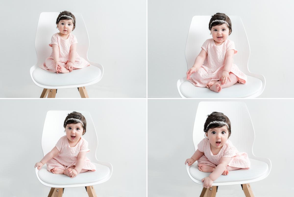 un bébé de 6 mois en séance photo au studio