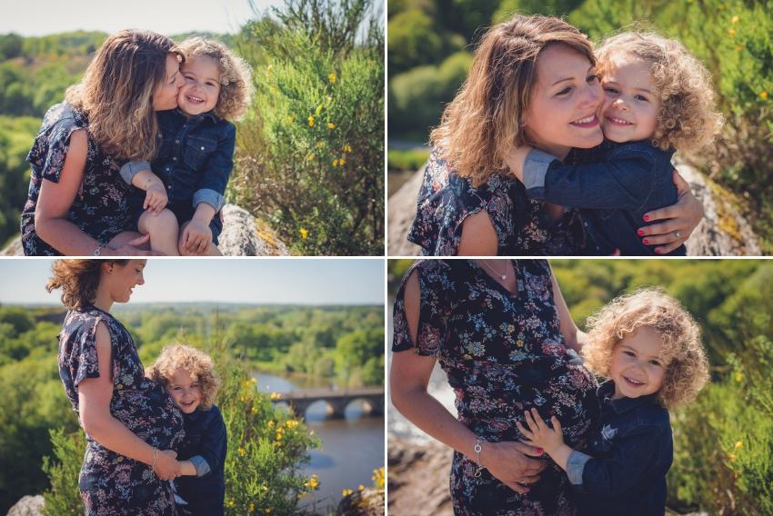 Magnifique future maman avec sa fille en séance Grossesse
