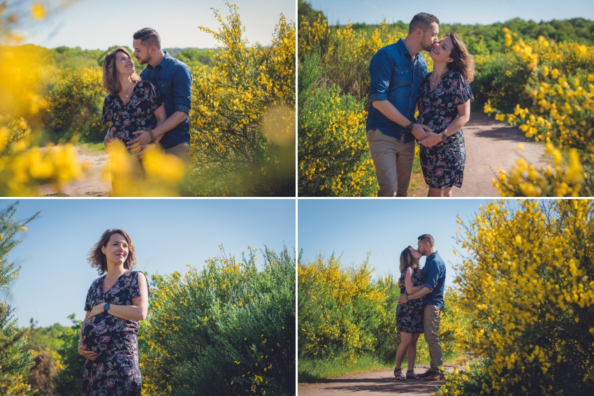 Couple amoureux photographié en extérieur au milieu des fleurs